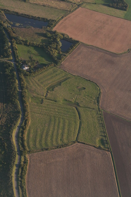 Old field marking and ridge and furrow behind the sea bank, Chapel Six Marshes: aerial 2015