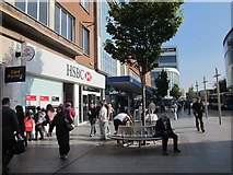 SX9292 : High Street Exeter, HSBC Bank on the Left by Roy Hughes
