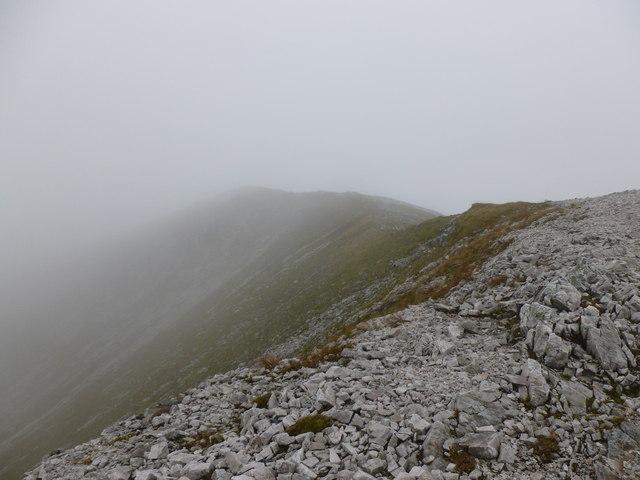 Summit of Sgùrr a' Mhàim in the mist