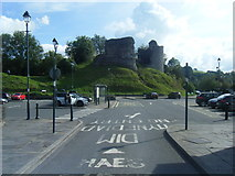SN7634 : Llandovery Castle and Car Park by Colin Pyle