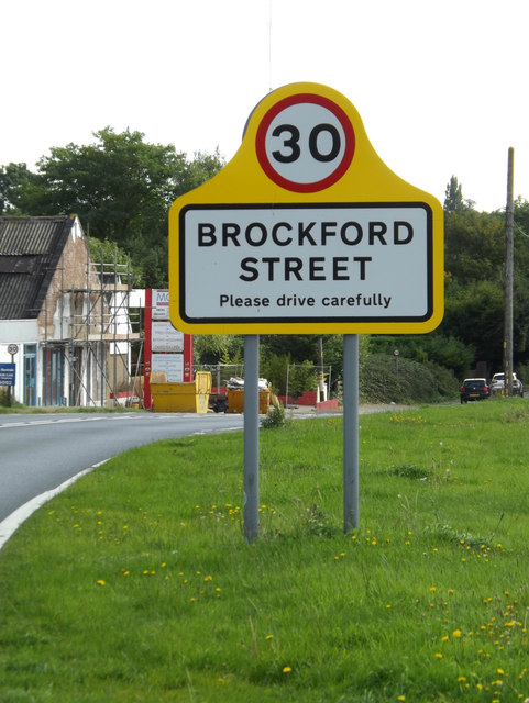 Brockford Street Village Name sign