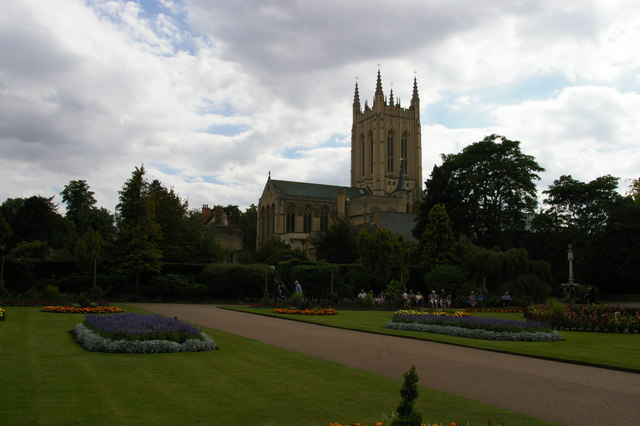 Bury St Edmunds: the Cathedral from Abbey Gardens