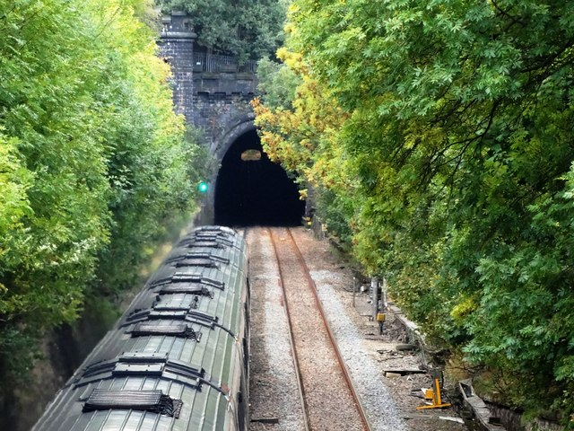 Train thundering to Clay Cross Tunnel