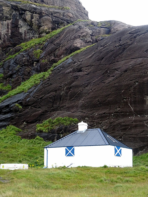 The Coruisk mountain hut by the 'haunted' Black Rock