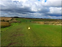 NU2522 : The 14th tee at Dunstanburgh Castle Golf Course by Gordon Brown