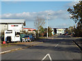 SX9389 : Yeoford Way with snack wagon, Matford, Exeter by Robin Stott