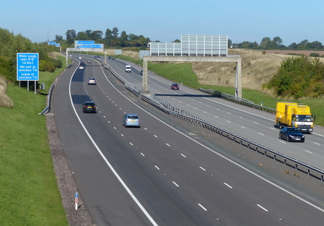 Looking north along the M6 Toll Motorway