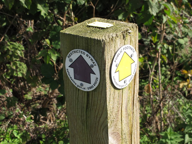 Restricted Byway and Public Footpath markers