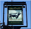TM0467 : Sign for the Bull at Bacton by JThomas