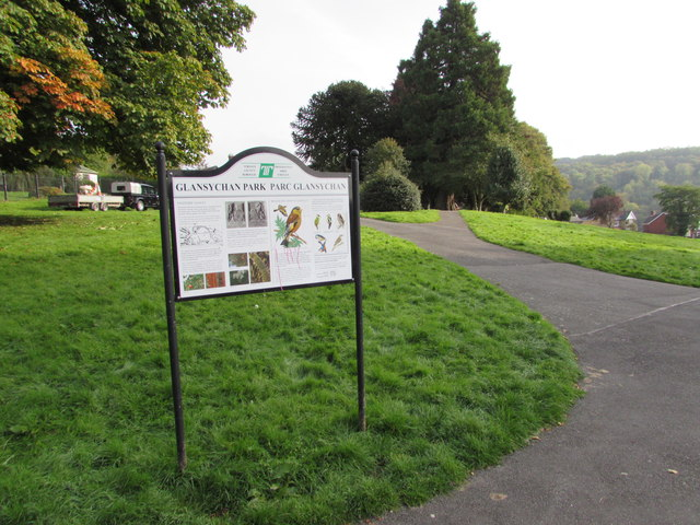 Information board in Glansychan Park, Abersychan