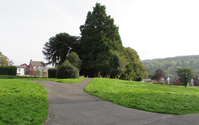 Path fork in Glansychan Park, Abersychan
