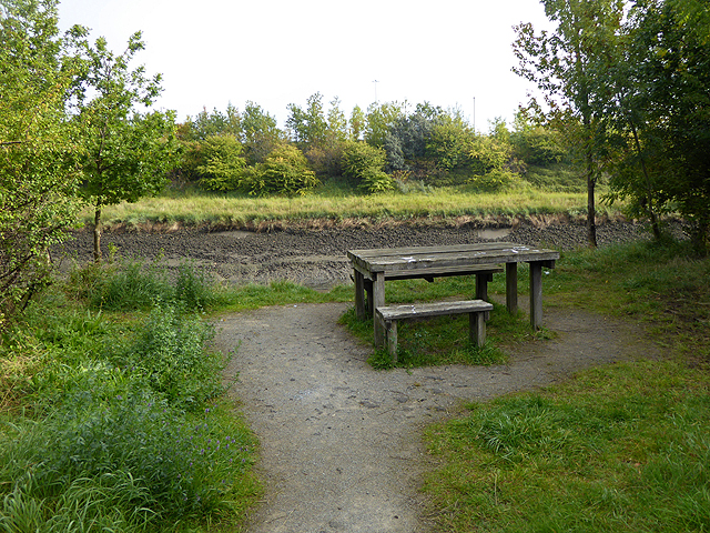 Picnic table by the River Don