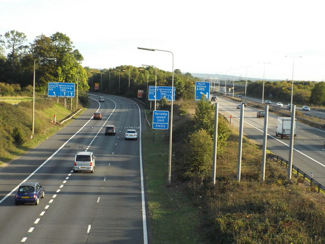 Slip road at M1/M25 junction, near St Albans
