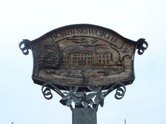 Bobbingworth village sign, close-up