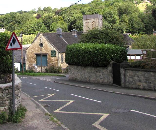 Warning sign - pedestrians in road, Brimscombe Hill, Brimscombe