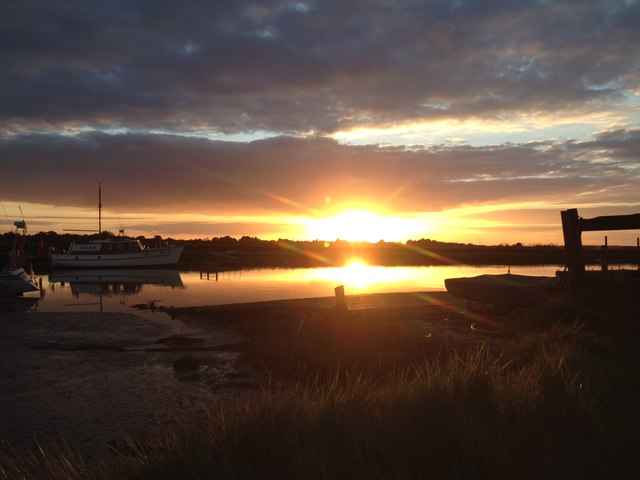 Sunset over Southwold Harbour and the River Blyth