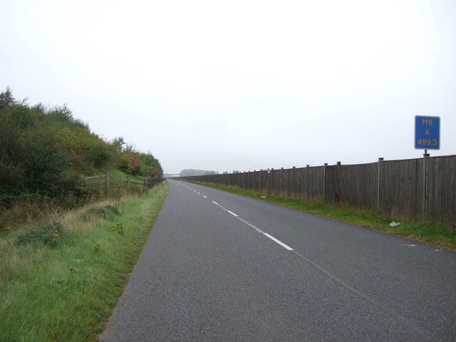 Minor road beside the M6 Motorway