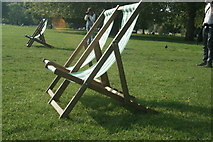 TQ2780 : View of deckchairs in the sun in Hyde Park #2 by Robert Lamb
