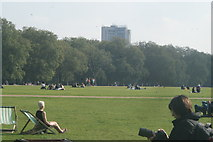 TQ2780 : View of the Hilton Hotel Park Lane from Hyde Park by Robert Lamb