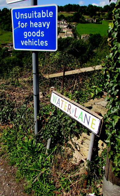 Multicoloured Water Lane name sign, Brimscombe