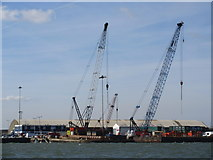 TQ7769 : Cranes at Chatham Docks by David Anstiss