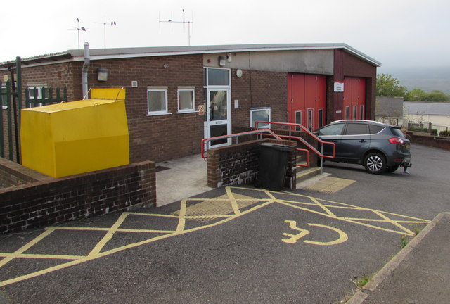 Yellow area outside Blaenavon Fire Station