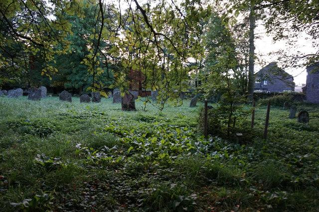 Overgrow graveyard at St John's Church, Garrigill