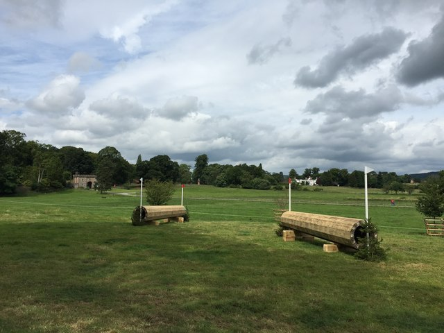 Cholmondeley Castle Horse Trials: Hanging Log on cross-country course