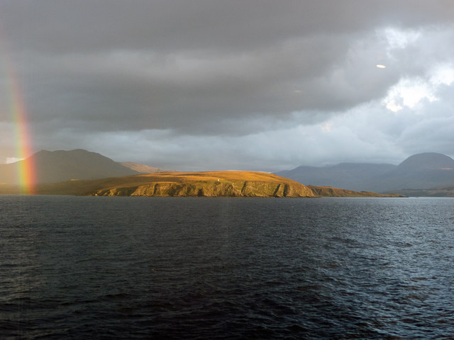 Cailleach Head seen from the CalMac ferry to Stornoway off Priest Island