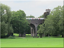 TQ2992 : Piccadilly Line underground train on the viaduct in Arnos Park by Mike Quinn