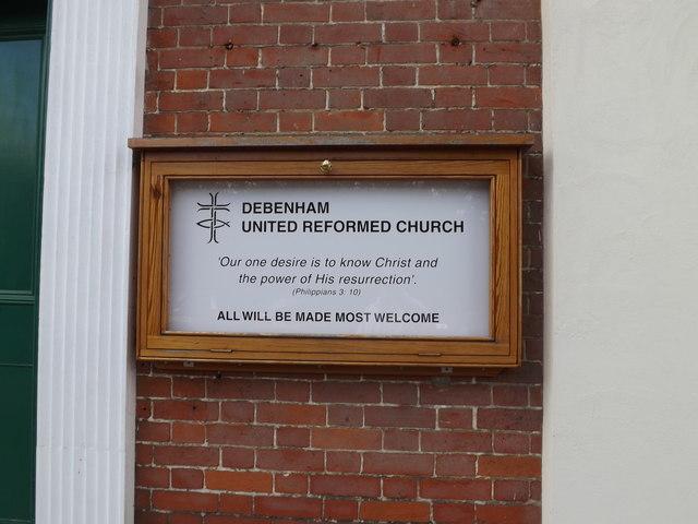 Debenham United Reformed Church sign