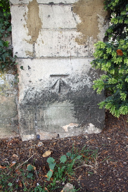 Benchmark on wall pier of Casterton Road near Vence Close junction