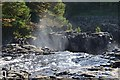 NY9027 : Spray rising from Low Force, River Tees by Jim Barton