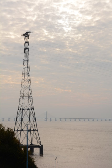 An electric pylon and the Second Severn Bridge