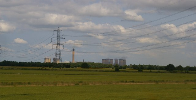 Drax power station and pylon line from the railway, Temple Hirst