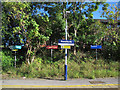 SJ8583 : Handforth station signs (1) by Stephen Craven