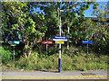 SJ8583 : Handforth station signs (1) by Stephen Craven