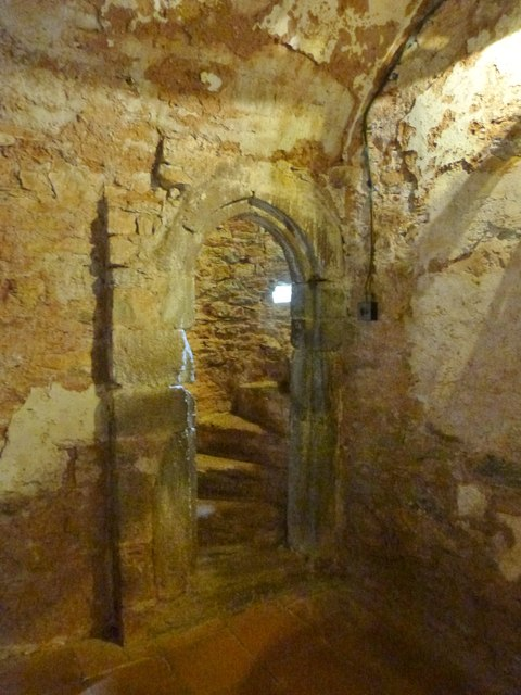 Spiral staircase from the kitchen area to an upper room, Compton Castle