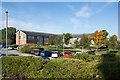 NZ3213 : Gardens and car park at Woodlands Hospital by Trevor Littlewood