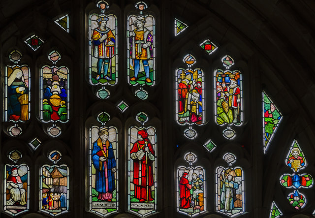 Stained glass window, Cloisters, Worcester Cathedral