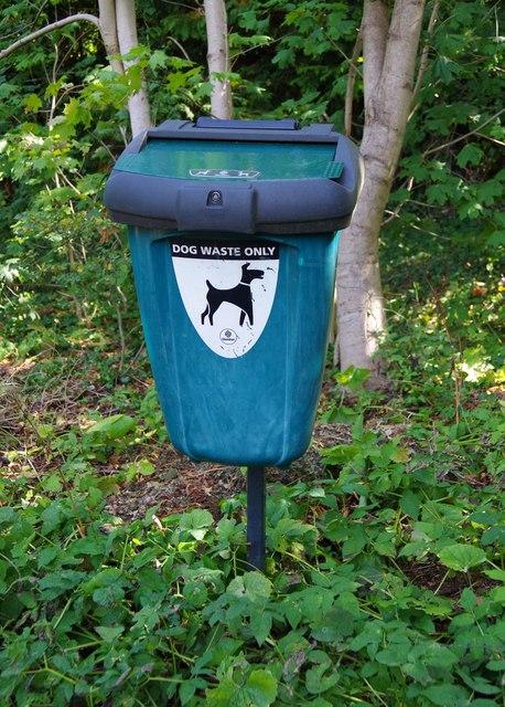Dog waste bin by public footpath, Droitwich Spa, Worcs