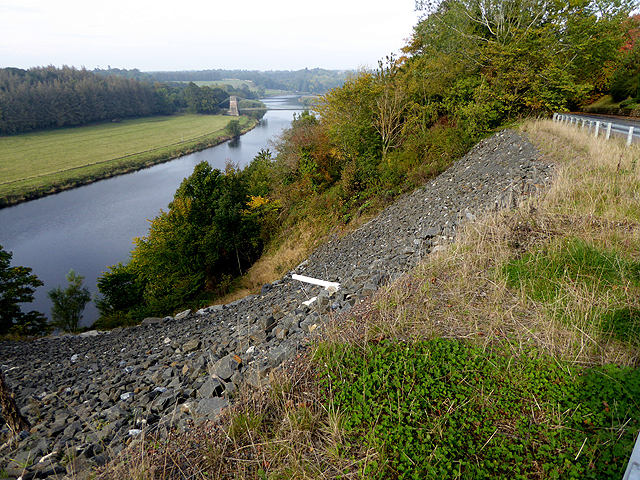 Landslip repair on the road to the Union Chain Bridge