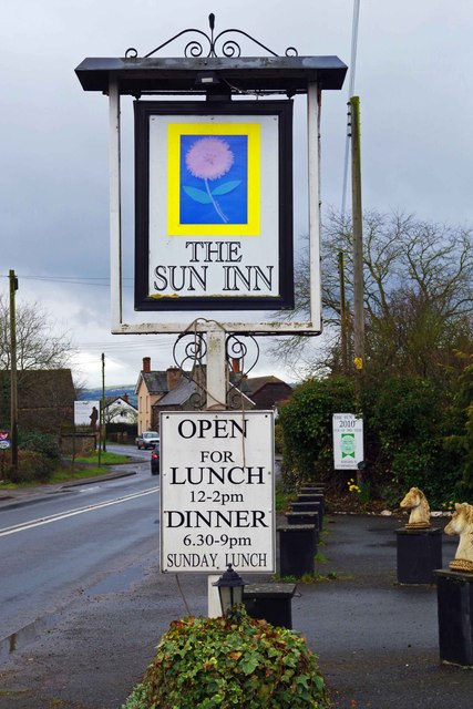 The Sun Inn (2) - sign, Winforton, Herefs