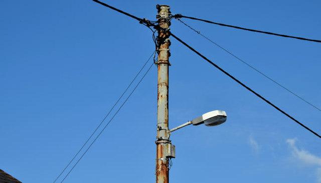 Metal telegraph pole, Saintfield (October 2015)