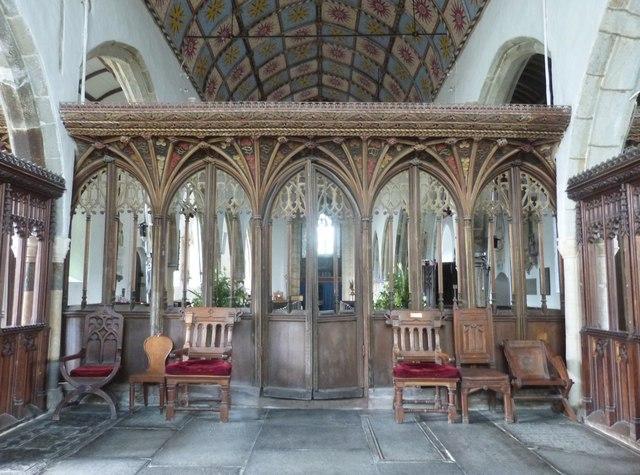 The beautiful 15th Century Rood Screen, St Nectan's church
