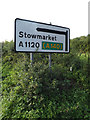 TM2363 : Roadsign on the A1120 The Street by Adrian Cable
