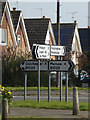 TM0019 : Roadsigns on the B1025 Mersia Road by Adrian Cable