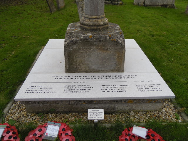 Restored war memorial at St. Benedict's Church, Glinton
