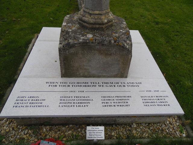 Restored war memorial at St. Benedict's Church, Glinton