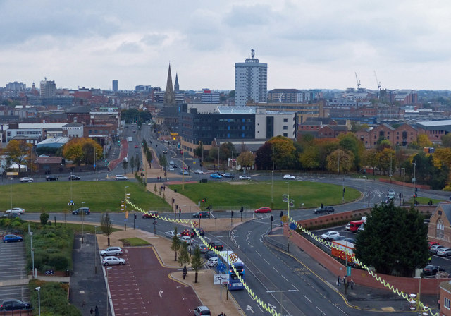View across Belgrave Circle to Leicester city